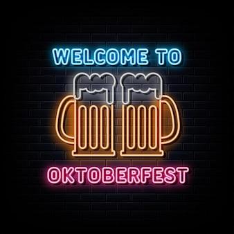 Benvenuto al simbolo al neon dell'insegna al neon dell'oktoberfest