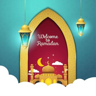 Benvenuto alla porta del ramadan con moschea e laterna