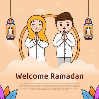 Benvenuto saluto del mese sacro di ramadhan kareem con l'illustrazione della mascotte del personaggio delle coppie carine