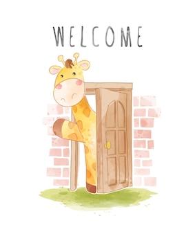Slogan di benvenuto con giraffa cartone animato davanti all'illustrazione della porta di legno
