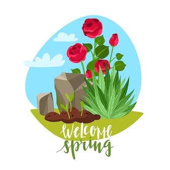 Welcome spring piante da giardino lettering illustrazione