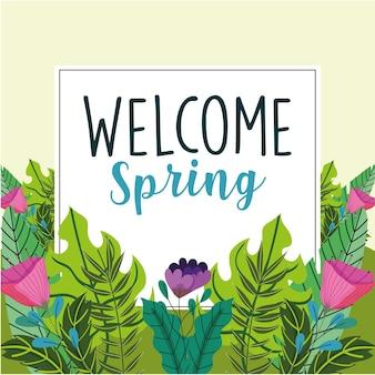 Etichetta di benvenuto primavera