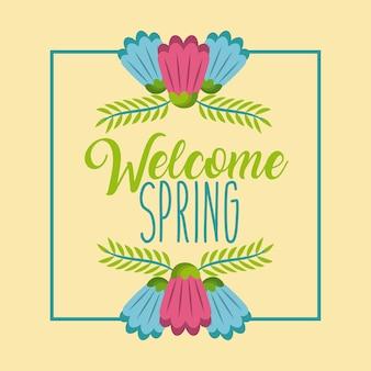 Periodo di tempo di celebrazione di poster di primavera di benvenuto