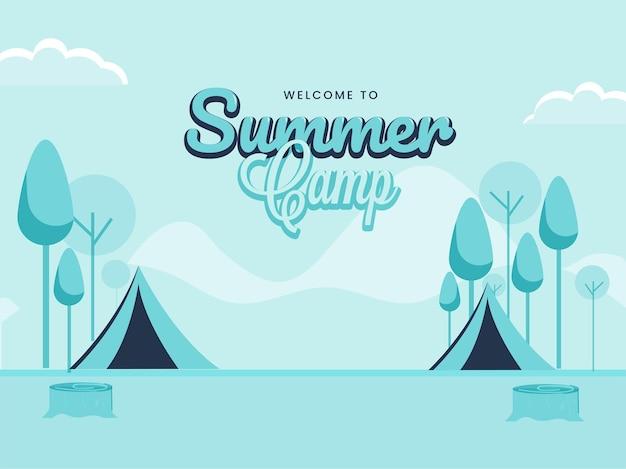 Benvenuti al disegno del manifesto del campo estivo con tende da picnic e albero su sfondo blu.