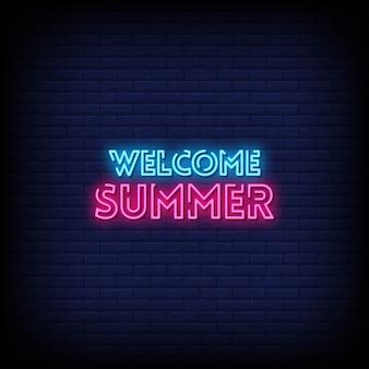 Testo di stile delle insegne al neon di estate di benvenuto
