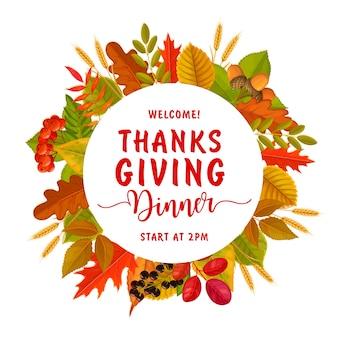 Volantino rotondo di benvenuto per la cena del giorno del ringraziamento.