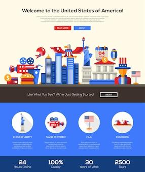 Benvenuti nel modello di sito web di viaggio degli stati uniti d'america
