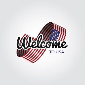 Benvenuti negli stati uniti, illustrazione vettoriale su sfondo bianco
