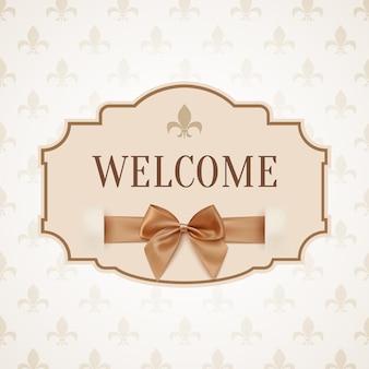 Carta di benvenuto, vintage, retrò con nastro dorato e fiocco. Vettore Premium