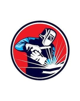 Vettore logo saldatore