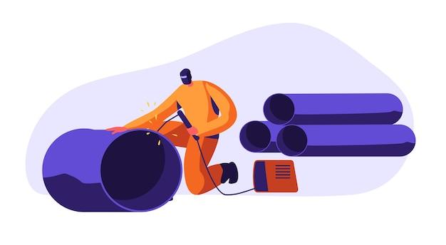 Uomo di saldatura tubazioni in acciaio nella fabbrica automobilistica industriale. illustrazione di concetto del lavoratore dell'industria metallurgica