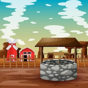Bene con la fattoria nell'illustrazione del deserto