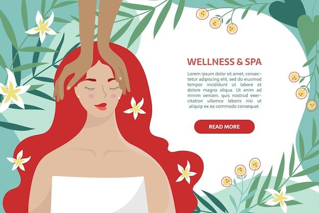 Modello di banner benessere e spa. donna agghiacciante durante la cura del viso e il massaggio