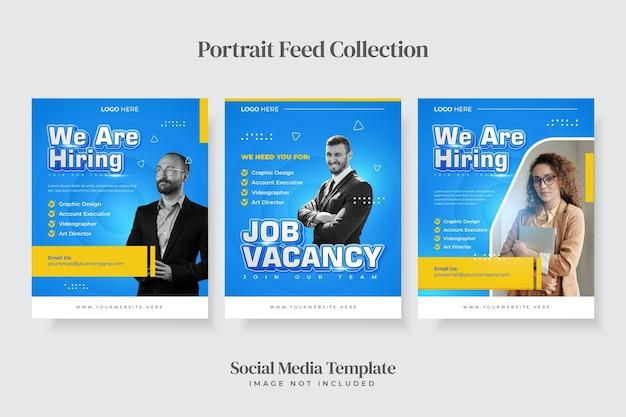 Stavamo assumendo un modello di post sui social media con ritratto di posizione lavorativa