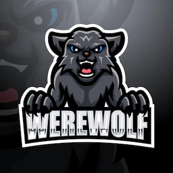 Illustrazione di esport della mascotte del lupo mannaro