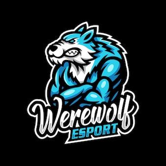 Lupo mannaro mascotte logo esport gaming