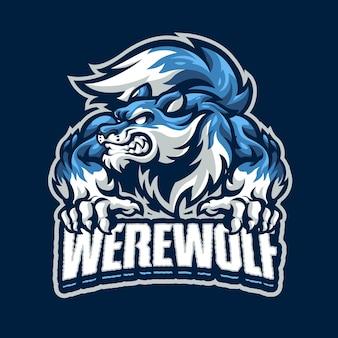 Logo della mascotte del lupo mannaro per esport e sport di squadra