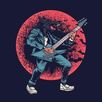 Lupo mannaro che suona musica con illustrazione di chitarra elettrica