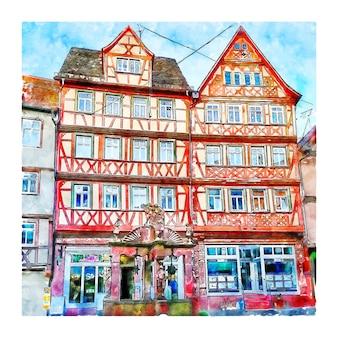 Illustrazione disegnata a mano di schizzo dell'acquerello di wertheim baden wurttemberg germania