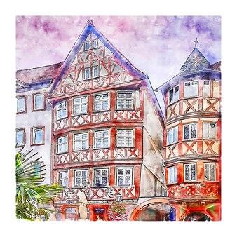 Wertheim baden wurttemberg germania schizzo ad acquerello disegnato a mano