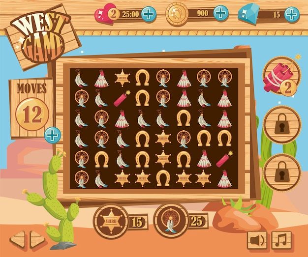 Scena del deserto del gioco occidentale