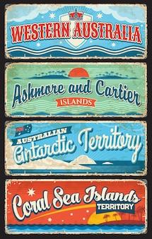 Australia occidentale, territorio antartico, mare di corallo, placche delle isole ashmore e cartier