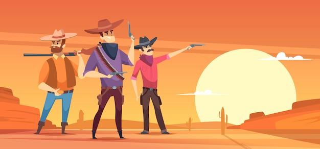 Sfondo occidentale. siluette e cowboy del dessert sulle illustrazioni della fauna selvatica dei cavalli