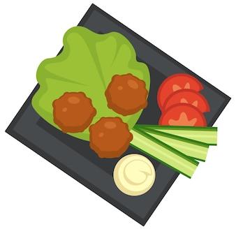 Cucina occidentale, icona isolata di polpette servite su foglie di insalata. salsa di panna acida con fette di cetriolo e pomodoro. barbecue o carne alla griglia. spuntini in ristorante o cena. vettore in stile piatto