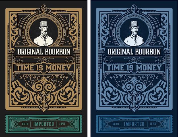 Etichetta occidentale per whisky o altri prodotti