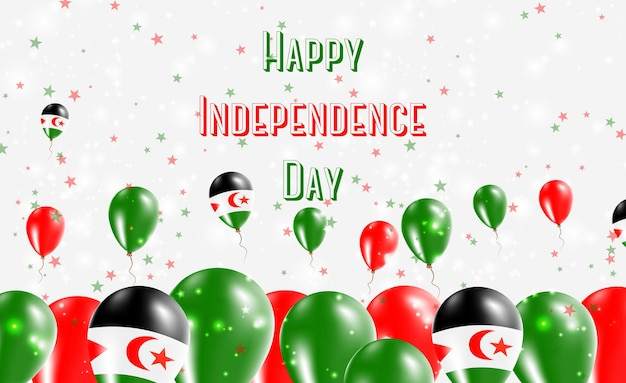 Design patriottico del giorno dell'indipendenza del sahara occidentale. palloncini nei colori nazionali sahrawi. cartolina d'auguri di felice giorno dell'indipendenza.