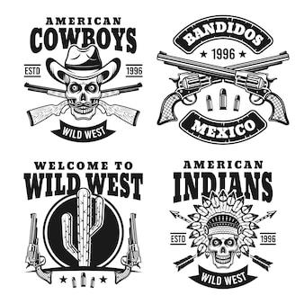 Un insieme occidentale di quattro emblemi o distintivi neri su fondo bianco Vettore Premium