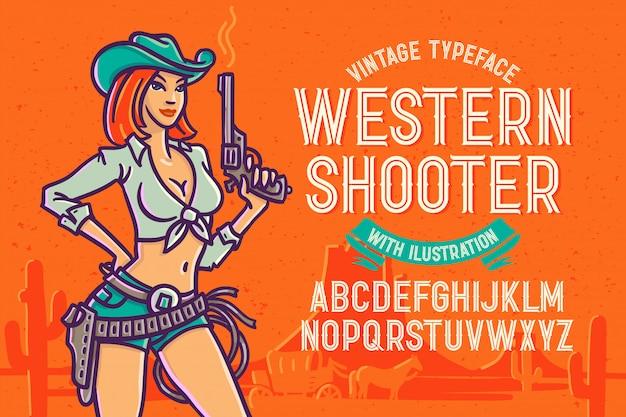 Fonte tipografica di stile occidentale con l'illustrazione della donna