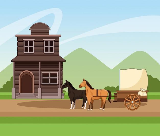 Design occidentale della città con carrozza con cavalli e costruzione in legno sul paesaggio