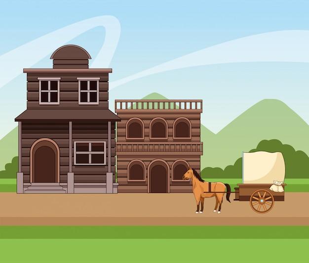 Design occidentale della città con edifici in legno e carrozza con cavalli