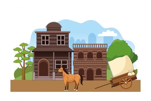 Scenario di città occidentale con edifici in legno, cavallo e carrozza