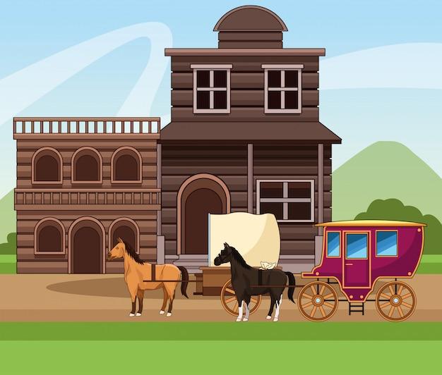 Città occidentale con costruzioni in legno e carrozza con cavalli sul paesaggio