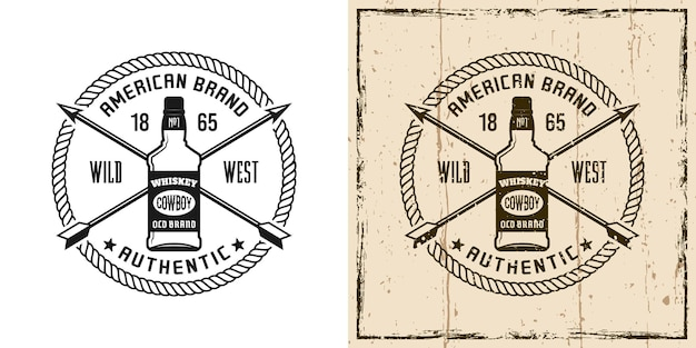 Emblema vettoriale occidentale, distintivo, etichetta, logo o stampa t-shirt con bottiglia di whisky in due stili monocromatico e vintage colorato