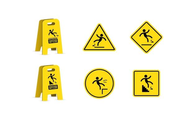 Pavimento bagnato e pulizia in corso. segno del pavimento scivoloso, illustrazione vettoriale. insieme dell'icona di pericolo di slittamento.