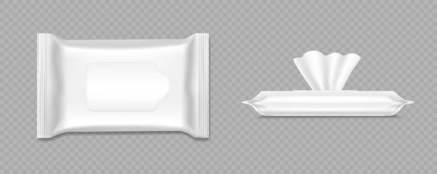 Mockup pacchetto salviettine umidificate confezione di fazzoletti antibatterici per l'igiene delle mani