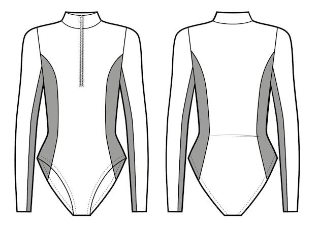 Muta sportiva stile body con cerniera sul davanti costume da bagno surf