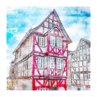 Wetzlar germania schizzo ad acquerello disegnato a mano illustrazione