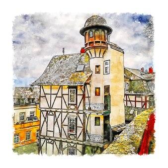 Illustrazione disegnata a mano di schizzo ad acquerello di wetzlar hessen germania