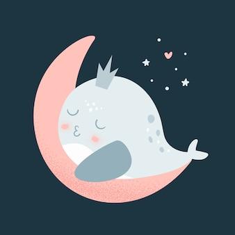 Whale baby dorme sulla luna