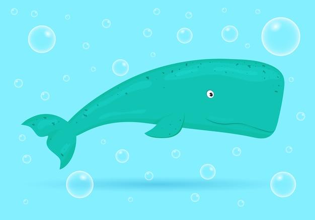 Balena su sfondo blu con bolle. pesce dell'oceano. vita selvaggia marina subacquea. illustrazione.
