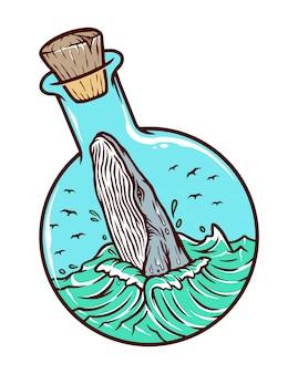 Balena in un'illustrazione di bottiglia