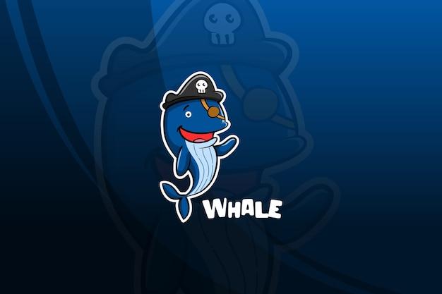 Design mascotte di balena esport. pirati
