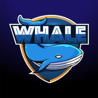 Design del logo mascotte di balena esport