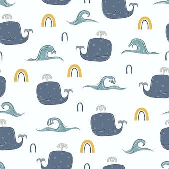 Modello senza cuciture marino stile cartone animato disegnato a mano balena per bambini