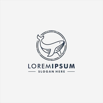 Logotipo di icona animale di vettore di progettazione di logo di balena
