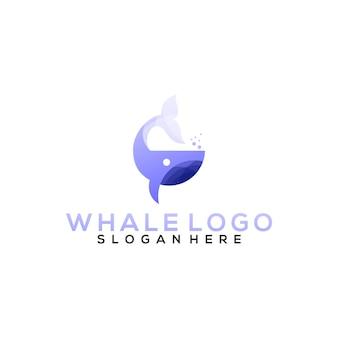 Modello logo balena Vettore Premium